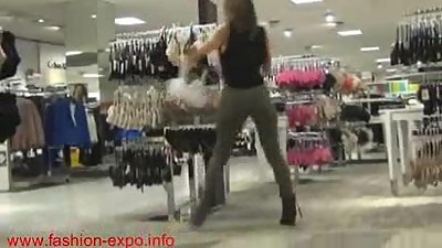 Horny Mom fucks and sucks son's big cock in public clothes shop