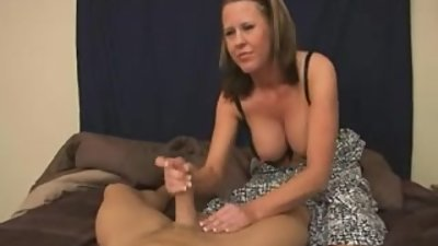 Step-Mom gives step-son handjob