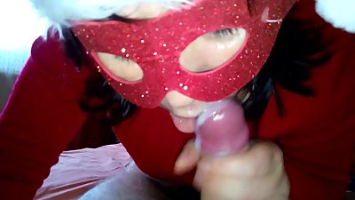 Christmas blowjob with Cum in mouth HOT Mom And Step Son