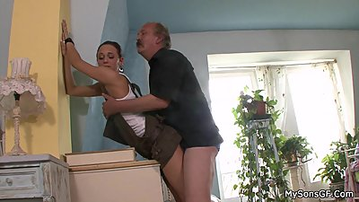 Father in law licks and fucks son's girl