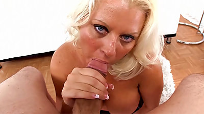 Roxy Doll Cougar MILF Deepthroats Huge Cock Swallow HotCum Load POV Blowjob
