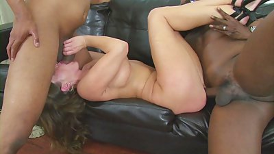 Slutty housewife gets double teamed by two big black dicks