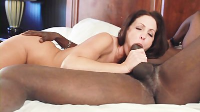 Big tits babe in fishnets gets creampie from black cock