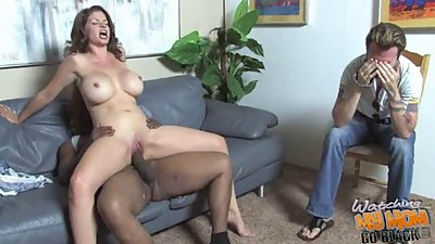 Cuckold son watching his busty Momma fuck nigga dick