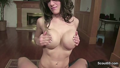 Step-Mom Caught German Step-Son and helps with Blowjob