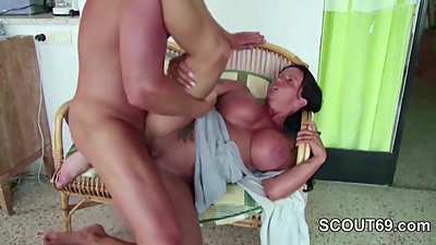 German Step-Son Seduce to Fuck His Big Tit Mom in Sextapes