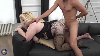 BIG mom Rosemary fucks young lucky son