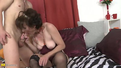 Mature mom Alice gets hard sex with son