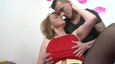 Mom with saggy tits gets taboo sex with son