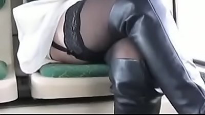 Best Mom Flashing on Bus Boots Stockings. See pt2 at goddessheelsonline.co.uk
