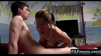 Busty mom teaches stepson how to fuck - FREE Mom Son Videos at FiLFmom.com