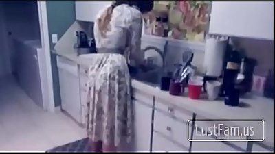 Spying son fucks mom in the kitchen - FREE MOM Videos at LustFam.us