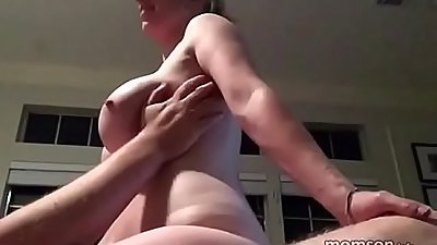 Busty mom riding her son
