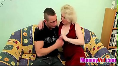 MommyVid.com - OLD BLONDE MILF FUCKS YOUNG DUDE !