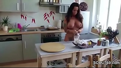 He Caught German Step-Mom naked and get His first Fuck