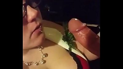 young Step mom sucking son cock coz son forced to blowjob like a xmas gift