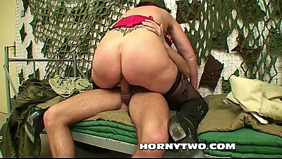 Pussy-Pierced mature older redhead taking fat cock into her wet old fuckhole