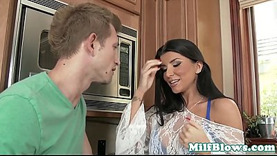 Pornstar Romi Rain blowing stepsons cock