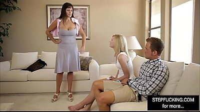 MILF Step mom teaching her daughter and boyfriend an important lesson
