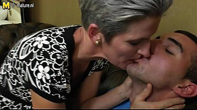 Skinny Mom makes love to her Son'_s hard cock