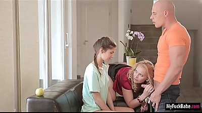 Gina Gerson is licked when her stepmom Kathia Nobili walks in