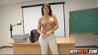 Slutty brunette teacher is horny for student 2