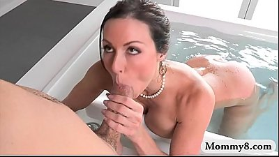 Stepson sneaked on her big boobs stepmom Kendra Lust
