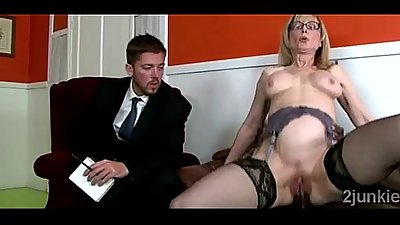 Mature secretary with hot body helps son to keep his job
