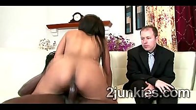 Big booty brunette MILF mounts black rod to help son keep his job