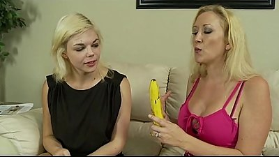 Mother Teaches Daughter How to Deepthroat a Cock