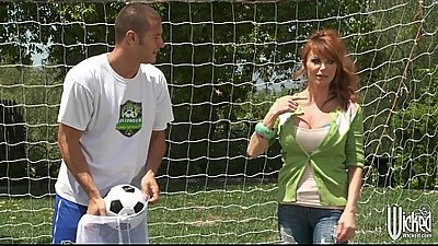 Big-tit British redhead Soccer mom Lia Lor fucks her son'_s coach